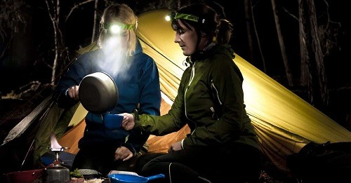 Camping with headlamps